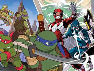Готовы ли Вы сразиться на главной сцене телеканала Nickelodeon, где в тяжелом и красочном противостоянии столкнуться герои двух очень популярных мультфильмов 'Юные мутанты Черепашки ниндзя' и 'Могучие рейнджеры'.